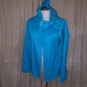 UNiqlo AS NEW turquoise rain slicker hoodjacket M